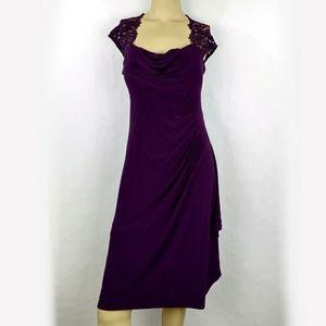 MSK Purple Sheath Lace Trim Evening dress 6